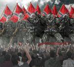2015 ammunition artist_name banner black_hair crowd fist_pump flag gas_mask geara_zulu gun gundam gundam_unicorn helmet highres kzchan military military_uniform salute uniform watermark waving_arms weapon zeon