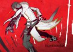 1boy artist_name black_hair black_pants blade_master_(elsword) character_name coat copyright_name daizu_yan elsword fighting_stance hoodie looking_back male_focus pants raven_(elsword) ready_to_draw red_background scabbard sheath solo yellow_eyes