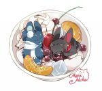animalization anmitsu_(dessert) artist_name bowl cherry earrings food fruit jewelry kashuu_kiyomitsu maruneko no_humans orange_slice pun rabbit scarf signature touken_ranbu whipped_cream yamato-no-kami_yasusada