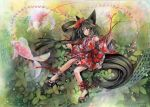 1girl abstract_background animal_ears beads black_eyes black_hair carp dated detached_sleeves fish floating_hair floral_print japanese_clothes kimono light_particles long_hair mosho needle open_mouth original platform_footwear red_string sandals signature solo string tail traditional_media very_long_hair watercolor_(medium) yukata