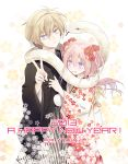 1boy 1girl 2013 akeome artist_name commentary_request floral_print flower hair_flower hair_ornament haori happy_new_year hug itsuki_(s2_129) japanese_clothes kimono looking_at_viewer nengajou new_year original slit_pupils snake tears v wavy_mouth