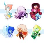 amethyst_(steven_universe) barlee charm chibi commentary garnet_(steven_universe) jasper_(steven_universe) lapis_lazuli_(steven_universe) long_hair open_mouth pearl_(steven_universe) peridot_(steven_universe) ruby_(steven_universe) sapphire_(steven_universe) short_hair smile steven_quartz_universe steven_universe weapon wings
