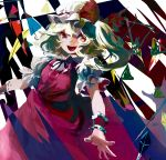 1girl abstract blonde_hair colorful dress flandre_scarlet hat hat_ribbon meyan open_mouth puffy_short_sleeves puffy_sleeves red_dress red_eyes ribbon short_hair short_sleeves side_ponytail solo touhou white_hat wrist_cuffs