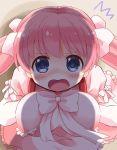 1girl blue_eyes bow eyebrows_visible_through_hair haramura_nodoka long_hair looking_at_viewer open_mouth pink_bow pink_hair pink_ribbon ribbon ringo_(nanaprin) saki solo twintails