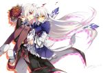 1boy 1girl :o alternate_hair_color black_pants blue_skirt bouquet brown_legwear carrying elsword elsword_(character) eve_(elsword) flower forehead_jewel frills gloves long_hair pants princess_carry red_eyes red_rose rose shoes skirt smile surprised thigh-highs very_long_hair vilor white_background white_gloves white_hair yellow_eyes