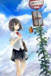 1girl bag bangs black_hair black_skirt blouse blue_sky bow bus_stop butterfly cellphone clouds cloudy_sky condensation_trail cowboy_shot holding_phone ivy kneehighs looking_away original outdoors overgrown parted_lips phone plant pleated_skirt red_bow road_sign school_bag school_uniform shimada_sara short_hair shoulder_bag sign skirt sky socks solo vines white_blouse white_legwear wind