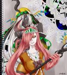 2girls armless bare_shoulders black_sclera dark_skin feathers gourgeist hat multiple_girls notebook one_eye_covered open_mouth personification pink_hair pokemon sigilyph signature staff tiara white_hair yellow_eyes yumeukihashi