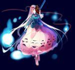 1girl boots bubble_skirt covering_one_eye full_body hata_no_kokoro hitodama hug_(artist) long_hair long_sleeves looking_at_viewer naginata noh_mask oni_mask pink_eyes pink_hair plaid plaid_shirt polearm shirt skirt solo string touhou very_long_hair weapon