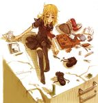 1girl bag bangs black_legwear blonde_hair blush book brown_eyes clipboard cracked_floor higurashi_no_naku_koro_ni ladder long_hair looking_at_viewer notebook open_book papers parted_bangs parted_lips pen pencil pencil_case ryou_(shirotsumesou) school_bag school_uniform shadow shoes_removed sitting solo stuffed_animal stuffed_toy takano_miyo tanashi_miyoko teddy_bear