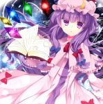 1girl book bow capelet hair_bow hat highres kozue1120 magic_circle mob_cap patchouli_knowledge philosopher's_stone purple_hair solo touhou violet_eyes