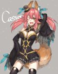 1girl animal_ears bare_shoulders blush bow breasts caster_(fate/extra) character_name cleavage detached_sleeves fang fate/extra fate/extra_ccc fate_(series) flower_ornament fox_ears fox_tail hair_bow hair_ribbon hand_in_hair hand_on_hip hat long_hair mini_top_hat one_eye_closed open_mouth pink_hair ribbon solo tail thigh-highs top_hat twintails tyokoa4649 yellow_eyes
