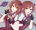 back-to-back bangs black_gloves blush breasts brown_eyes brown_hair debi_tarou dress fang fingerless_gloves gloves grey_background hair_between_eyes idolmaster idolmaster_shiny_colors long_hair medium_breasts mhn my_dear_vampire oosaki_amana oosaki_tenka open_mouth puffy_short_sleeves puffy_sleeves red_dress short_sleeves siblings simple_background sisters skirt smile swept_bangs twins upper_body yellow_eyes