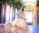 1girl bridal_veil bride dress flower gloves green_eyes green_hair gumi hallway highres looking_at_viewer looking_back parted_lips qingshui_ai reflection rose sleeveless sleeveless_dress veil vocaloid white_dress white_gloves
