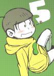 1boy absurdres arm_support black_hair blush denim flower_(symbol) green_eyes highres hoodie jeans jyushimatsu male_focus number osomatsu-kun osomatsu-san pants sitting smile solo white_pants