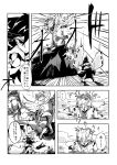 2girls bow comic detached_sleeves doll_joints dress explosion giantess hair_bow hair_tubes hakurei_reimu highres hisany-spacecrayon monochrome multiple_girls short_hair touhou translation_request