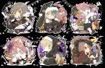 6+boys animal_ears baton_(instrument) beamed_quavers bell black_background blush book brown_eyes brown_hair candle candy cat character_name crescent_moon cup fusion ghost glasses grin inazuma_eleven_(series) inazuma_eleven_go inazuma_eleven_go_chrono_stone jack-o'-lantern jingle_bell kariya_masaki kariya_masaki_(mixi_max_kirino_ranmaru) kirino_ranmaru kirino_ranmaru_(mixi_max_jeanne_d'arc) lollipop male_focus moon multiple_boys nun open_mouth pumpkin quaver shindou_takuto shindou_takuto_(mixi_max_oda_nobunaga) simple_background skull smile swirl_lollipop teacup ticktack_chicken
