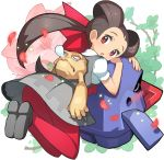 1girl alternate_color animal_on_back azalea_(flower) brown_hair geodude grey_skirt hair_ornament nose_bubble nosepass open_mouth pantyhose petals pink_legwear pokemon pokemon_(creature) pokemon_(game) pokemon_oras red_eyes saitou_naoki shiny_pokemon shoes skirt tsutsuji_(pokemon) twintails
