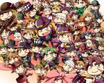 >_< 6+boys :< :d argyle bandaged_head blade blonde_hair bowler_hat brown_hair chibi clenched_hand closed_eyes crossed_arms fedora formal gradient gradient_background green_hair grin hat hat_removed headwear_removed jojo_no_kimyou_na_bouken multiple_boys necktie old_man older one_eye_closed open_mouth purple_hair ribbon robert_eo_speedwagon scar_on_cheek sledgehammer smile suit top_hat triangle_mouth umbrella v vest white_hair wrinkles xd yuu_knight3858