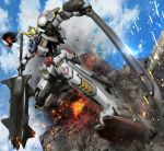 antennae clouds club dual_wielding gundam_barbatos gundam_iron-blooded_orphans hiropon_(tasogare_no_puu) mecha no_humans sky solo sword weapon