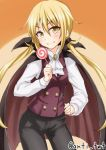 1girl anti_(untea9) black_cape black_pants blonde_hair brooch buttons candy cape costume fang hair_ornament hand_on_hip highres holding_food jewelry kantai_collection lollipop long_hair long_sleeves orange_background pants purple_vest satsuki_(kantai_collection) shirt simple_background smile smug solo twintails twitter_username vampire_costume vest white_shirt yellow_eyes