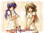 blue_eyes blue_hair hair_bow kanon kawasumi_mai kurata_sayuri nurse_uniform ribbon