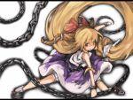 >:) blonde_hair bow chain chains cucui cusui flexible hair_bow horns ibuki_suika kneeling long_hair oni outstretched_leg smile solo touhou very_long_hair