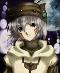 .hack//games .hack//sign androgynous bird butterfly face full_moon gothic hat head_tilt irino male moon photoshop purple_eyes silver_hair sphere spheres tsukasa tsukasa_(.hack//) turtleneck violet_eyes
