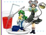 animal_ears basket blue_eyes cheese detached_sleeves drink eating fork frog girl_on_a_plate green_hair grey_hair holding holding_fork knife kochiya_sanae long_hair minigirl mouse mouse_ears mouse_tail multiple_girls nazrin oversized_object plate red_eyes short_hair snake straw tail takeko touhou