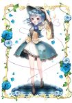 1girl adapted_costume blue_rose elaborate_frame floral_print flower frame green_eyes green_hair hand_on_head hat hat_ribbon heart heart_of_string komeiji_koishi open_mouth radge ribbon rose shirt short_hair showgirl_skirt silver_hair skirt smile solo third_eye thorns touhou vest