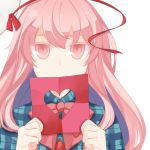1girl blank_stare bow colored_eyelashes confession expressionless hata_no_kokoro heart long_hair looking_at_viewer mask_on_head pink_eyes pink_hair plaid plaid_shirt rainx0z shirt solo touhou