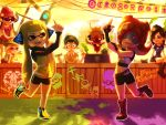 1boy 5girls :d agent_3 algae aori_(splatoon) artist_name beanie bellhenge big_eyes bike_shorts boots cat commander_atarime dancing dj_takowasa domino_mask facial_hair fangs green_hair hat headgear high_visibility_jacket highres hotaru_(splatoon) inkling jajji-kun_(splatoon) knee_boots mask mouth_guard multiple_girls octarian oktoberfest open_mouth pink_shirt pointy_ears redhead shirt shorts smile snow_globe splatoon squid standing_on_one_leg sunglasses takozonesu tank_top teeth tentacle_hair twintails vest walking_stick
