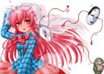 1girl blush fox_mask hata_no_kokoro highres kotowari_(newtype_kenkyuujo) long_hair mask open_mouth pink_eyes pink_hair plaid plaid_shirt shirt solo tail touhou veil
