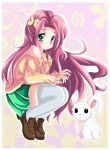 1girl angel_bunny bare_shoulders commentary fluttershy kiriche my_little_pony my_little_pony_friendship_is_magic personification rabbit solo