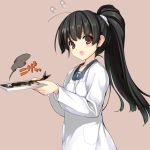 1girl black_hair brown_background collarbone fish isokaze_(kantai_collection) kantai_collection long_sleeves naruse_hirofumi open_mouth plate ponytail red_eyes shirt simple_background solo upper_body white_shirt x_x