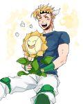 1boy blonde_hair caesar_anthonio_zeppeli crossover facial_mark headband jojo_no_kimyou_na_bouken pokemon pokemon_(creature) sunabu sunflora