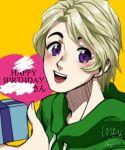 1boy alternate_costume blonde_hair box gift gift_box happy_birthday heart hoodie lloyd_garmadon ninjago shimotsuki_kitsune smile solo upper_body violet_eyes