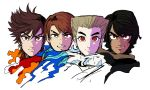 4boys asymmetrical_eyebrows black_hair blue_eyes brown_hair cole_(ninjago) evil_smile eyebrows hair_over_one_eye japanese_clothes jay_(ninjago) kai_(ninjago) multiple_boys ninjago red_eyes shimotsuki_kitsune short_hair silver_hair smile spiky_hair thick_eyebrows turtleneck zane_(ninjago)