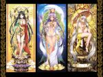 3girls bare_shoulders breasts buddhism cleavage crown hat highres long_hair looking_at_viewer multiple_girls navel original revealing_clothes smile staff sword thighs umbrella weapon yuuki_kira