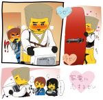 3boys armor asymmetrical_eyebrows black_hair blush brown_hair cole_(ninjago) eyebrows gloves hair_over_one_eye heart japanese_armor japanese_clothes jay_(ninjago) mechanophilia microwave multiple_boys ninjago pants_down shimotsuki_kitsune silver_hair sode spiky_hair thick_eyebrows turtleneck zane_(ninjago)