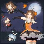 1girl adapted_costume antenna_hair bandages black_eyes black_gloves black_legwear blood blood_on_face blue_hair brown_hair bun_cover candy cane cape clouds costume cross crucifix doll double_bun fangs gloves glowing green_eyes hair_ribbon halloween hat highres jintsuu_(kantai_collection) kanamura_will kantai_collection leg_ribbon long_hair moon naka_(kantai_collection) necktie night open_mouth outstretched_arms petticoat puffy_sleeves pumpkin red_eyes rensouhou-chan ribbon sendai_(kantai_collection) short_hair silver_hair skirt stitches thigh-highs tie_clip top_hat torn_clothes white_legwear witch_hat wo-class_aircraft_carrier
