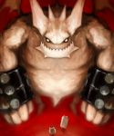 b_(pixiv) bat_wings beast cat_(battle_cats) demon empty_eyes fangs giant highres horns muscle no_humans nyanko_daisensou size_difference teacher_bun_bun wall_cat white_skin wings wristband