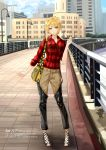 1girl bag bangs blonde_hair building character_name chef_no_kimagure_salad closed_mouth collared_shirt cross-laced_footwear green_eyes highres idolmaster idolmaster_cinderella_girls lace-up_heels lamppost looking_at_viewer miyamoto_frederica outdoors pants plaid plaid_shirt railing raised_hand shirt short_hair shoulder_bag sky smile solo standing tagme text translation_request