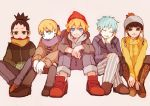 5boys ^_^ ahoge aqua_eyes bangs black_eyes black_hair blonde_hair blue_eyes blue_hair blunt_bangs boots brown_pants closed_eyes coat cross-laced_footwear green_eyes grey_legwear grey_pants hand_on_own_face hands_in_pocket hat head_rest head_tilt hood_down hooded_jacket kneehighs lace-up_boots long_hair metal_lee mitsuki_(naruto) multiple_boys nara_shikadai naruto open_mouth pale_skin pants pom_pom_(clothes) ponytail red_shoes scarf shirt shoes short_hair shorts simple_background sitting smile spike_(fluffyspiky) striped striped_pants striped_shirt sweater uzumaki_boruto whiskers yamanaka_inojin yellow_sweater zipper
