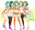 5girls dual_persona goggles goggles_on_head green_eyes green_hair gumi headphones highres looking_at_viewer midriff multiple_girls nou one_eye_closed open_mouth short_hair shorts solo_focus vocaloid