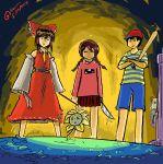 1boy 3girls crossover flowey_(undertale) gapangman hakurei_reimu madotsuki mother_(game) mother_2 multiple_girls ness toriel touhou undertale yume_nikki