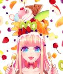 1girl banana blonde_hair blue_eyes blueberry blurry bowtie cherry chocolate depth_of_field food food_as_clothes food_on_face food_on_head fork fruit highres honeydew_(fruit) kisaragiyuu kiwifruit macaron object_on_head orange original parfait raspberry solo spoon strawberry tongue tongue_out whipped_cream