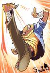 1boy highres hitmonlee kicking pokemon pokemon_(creature) sido_(slipknot) solo