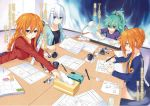 4girls character_request date_a_live multiple_girls office orange_hair tagme working