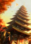 1boy architecture bird character_request east_asian_architecture from_behind from_below gold_(pokemon) hat ho-oh looking_up outdoors pagoda pokemon pokemon_(creature) pokemon_(game) pokemon_hgss sasakure_(mogunonbi) sky typhlosion