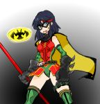 1girl belt black_hair boots cape cosplay dc_comics gloves gyosone kill_la_kill mask matoi_ryuuko robin_(dc) robin_(dc)_(cosplay) senketsu short_hair solo thigh-highs thigh_boots utility_belt